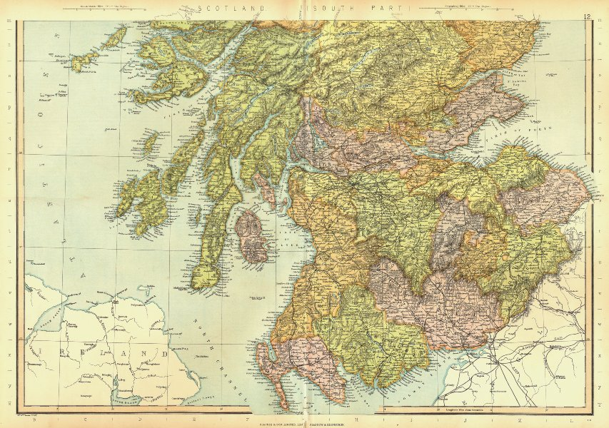 Associate Product SCOTLAND SOUTH. Railways & counties. BLACKIE 1893 old antique map plan chart