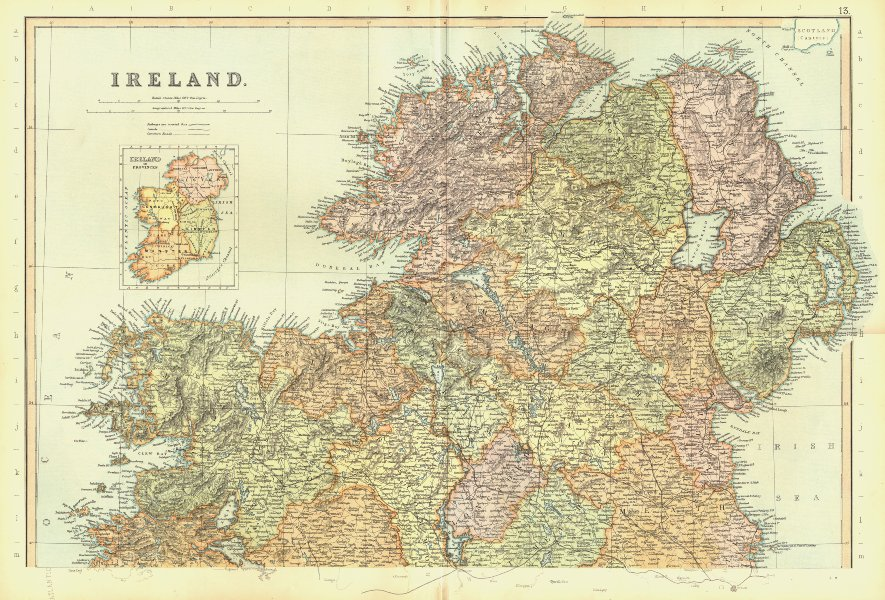 Associate Product IRELAND NORTH. Inset in Provinces. Ulster. BLACKIE 1893 old antique map chart
