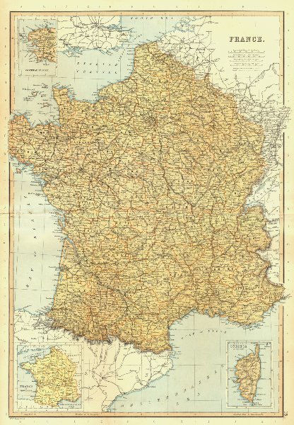 Associate Product FRANCE. railways canals departments. Inset, in provinces. BLACKIE 1893 old map