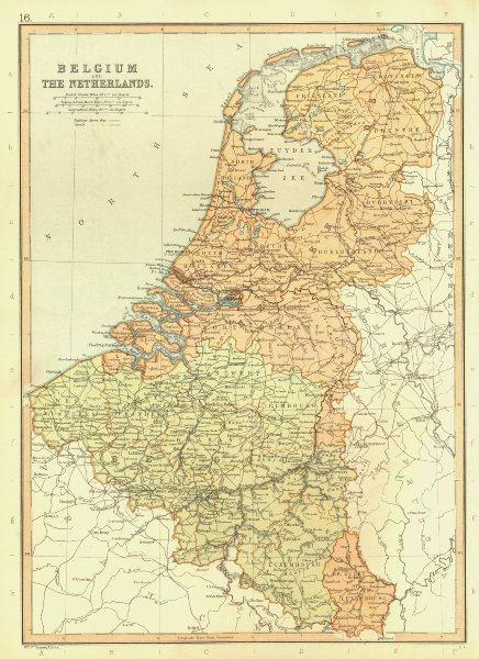 BENELUX. Belgium Netherlands Luxembourg. Canals & railways. BLACKIE 1893 map