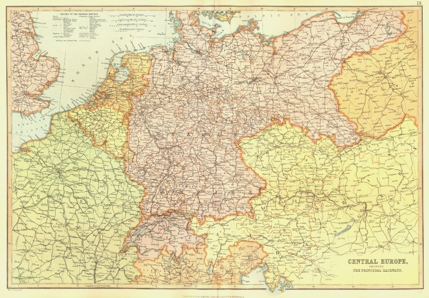 Associate Product CENTRAL EUROPE Railways. Germany Poland Austria Switzerland. BLACKIE 1893 map
