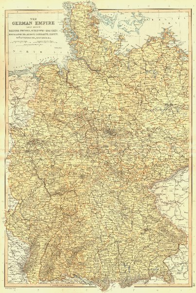 Associate Product GERMAN EMPIRE WEST. Rhenish Prussia Schleswig Alsace Bavaria. BLACKIE 1893 map