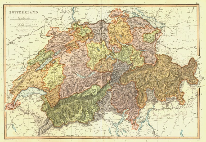 Associate Product SWITZERLAND. Mountain paths glaciers. Scale in Swiss Stunden. BLACKIE 1893 map
