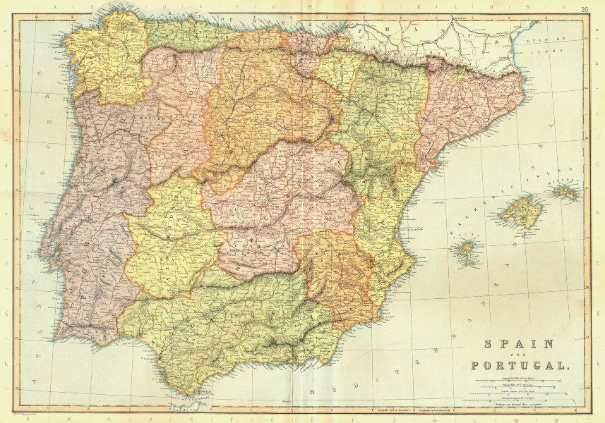 Associate Product IBERIA. Spain Portugal. Railways. Scale in Spanish Leagues.BLACKIE 1893 map