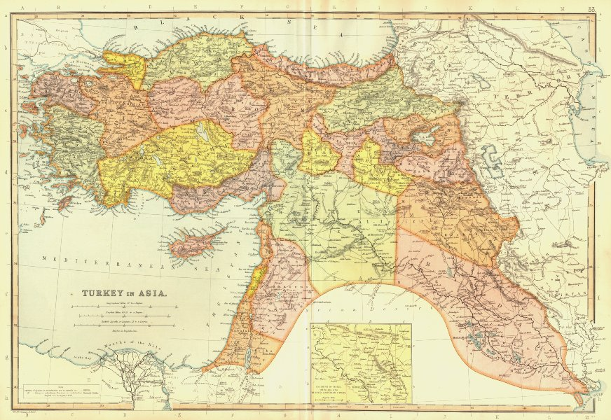 Associate Product TURKEY IN ASIA. Iraq Syria Palestine.Inset Mosul & Assyrian cities 1893 map