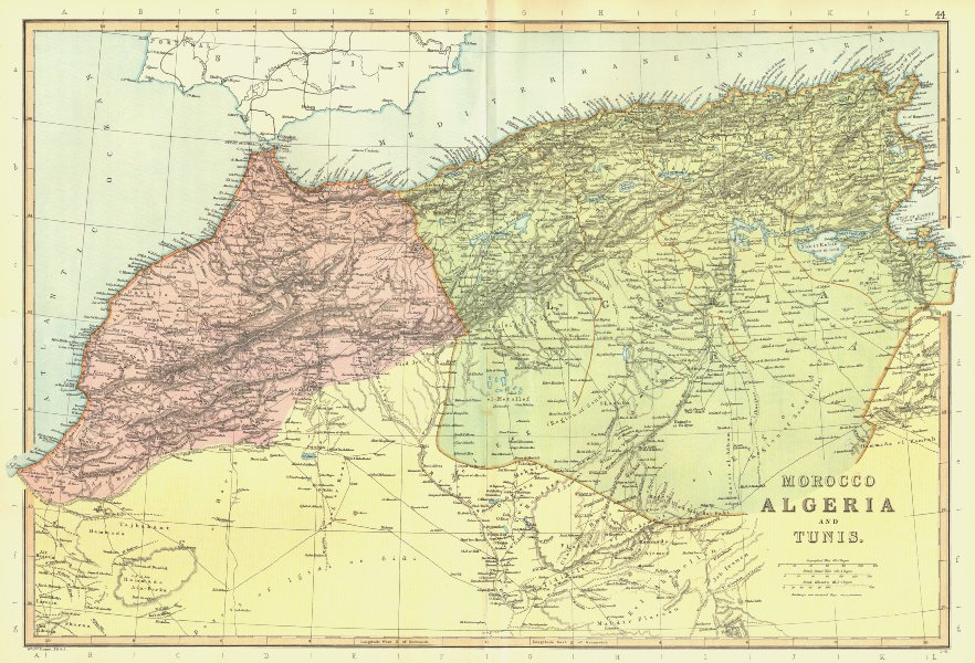 Associate Product MAHGREB. Morocco, Algeria & Tunisia. North Africa. Railways. BLACKIE 1893 map