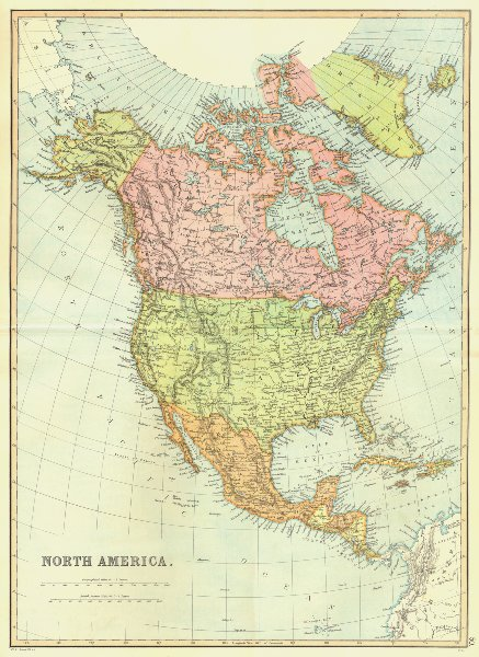 Associate Product NORTH & CENTRAL AMERICA. USA, Canada, Mexico, Caribbean. BLACKIE 1893 old map