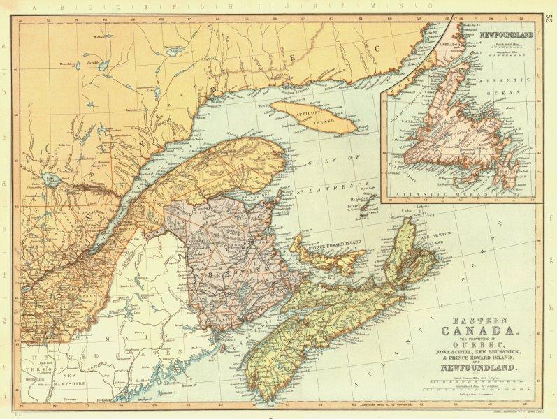 Associate Product CANADA MARITIMES. Quebec NS New Brunswick Newfoundland. BLACKIE 1893 old map