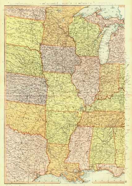 Associate Product MISSISSIPPI VALLEY. USA. LA AR MO MN WI IL MS AL. BLACKIE 1893 old antique map