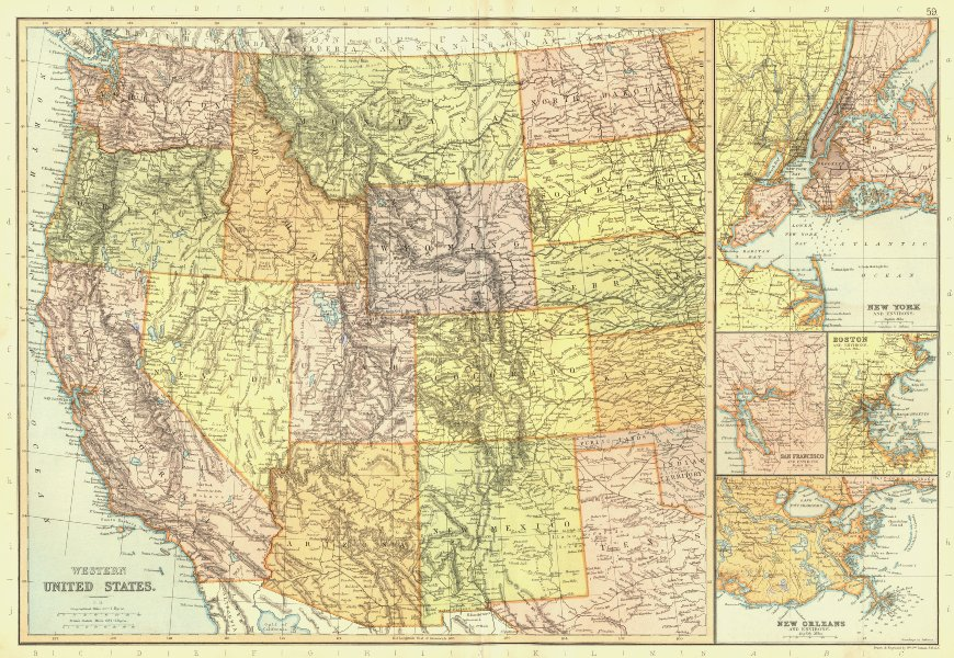 Associate Product USA WEST & PORTS. New York Boston San Francisco New Orleans. BLACKIE 1893 map
