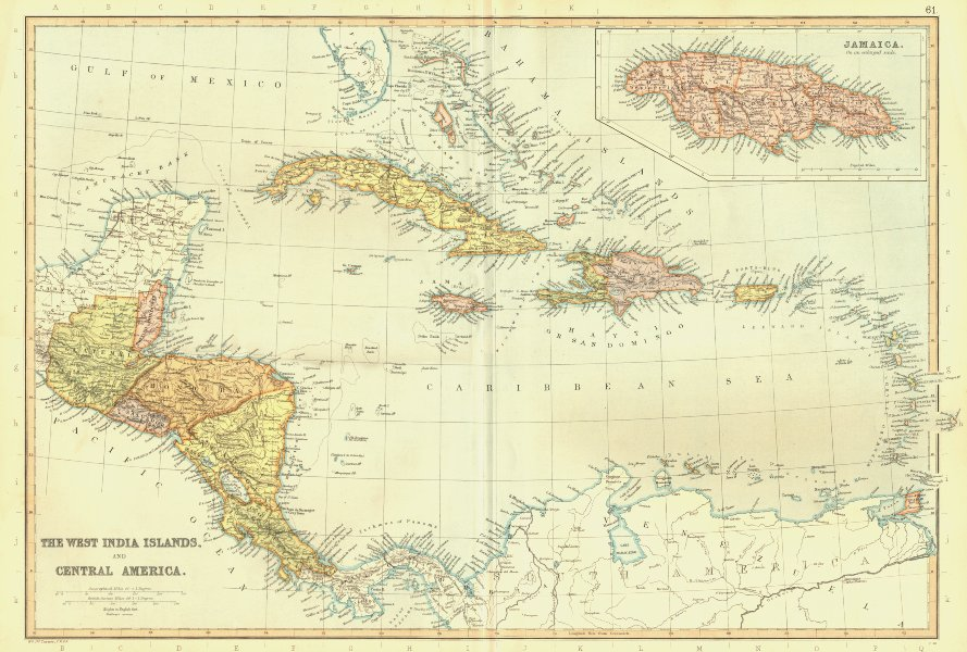 Associate Product CARIBBEAN & CENTRAL AMERICA. West Indies Bahamas. Jamaica. BLACKIE 1893 map