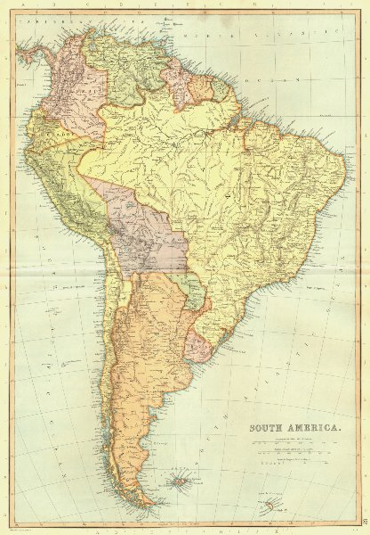 SOUTH AMERICA. Brazil Argentina Chile.Scale = Spanish Leagues.BLACKIE 1893 map
