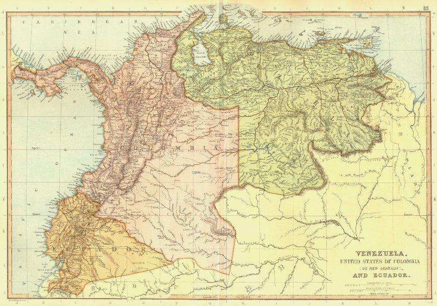 SOUTH AMERICA. Venezuela Colombia Ecuador Panama. New Granada.BLACKIE 1893 map