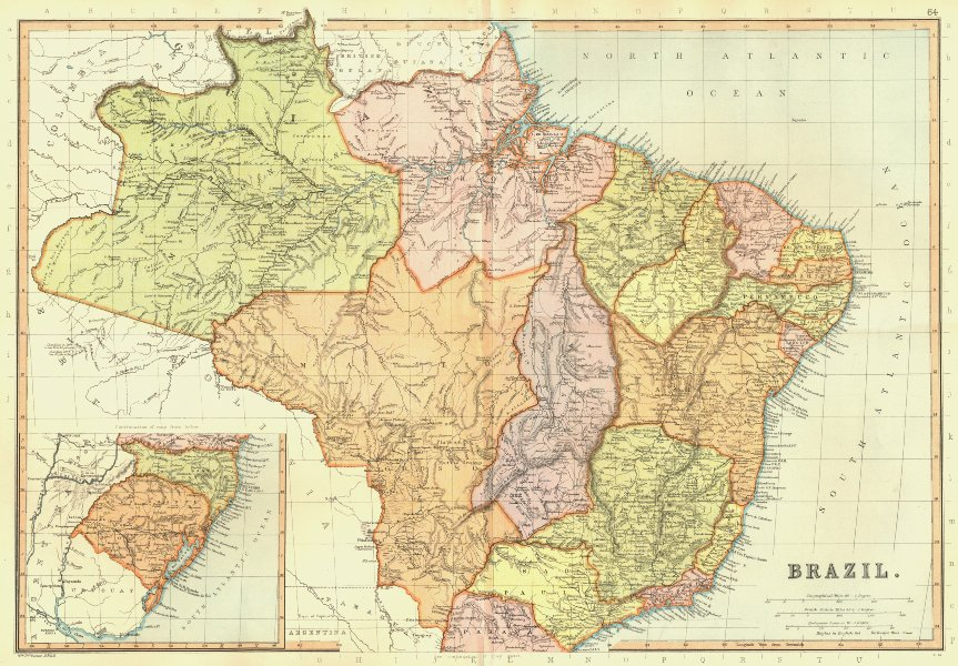 Associate Product BRAZIL. showing states. Railways. Scale in Portuguese Leagues.BLACKIE 1893 map