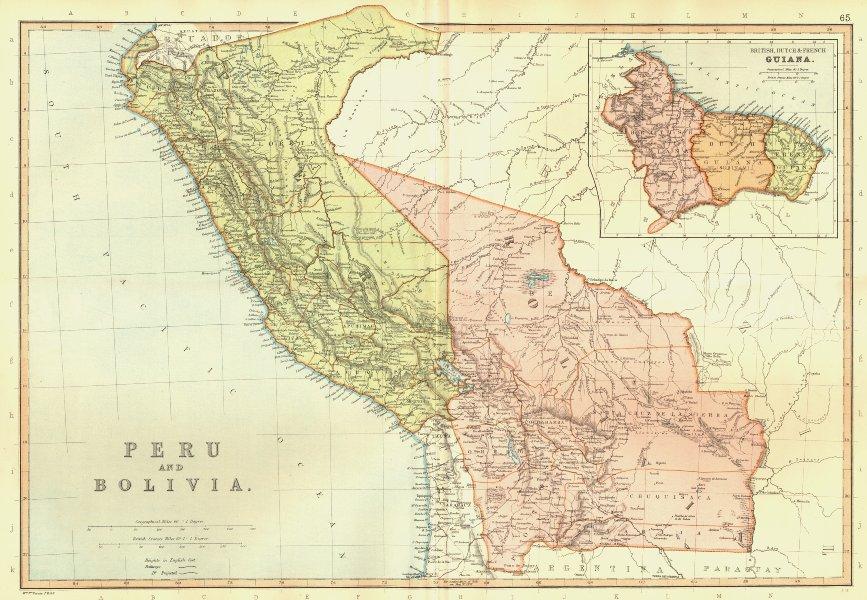 Associate Product PERU & BOLIVIA. & British French Dutch Guiana Guyana Suriname.BLACKIE 1893 map