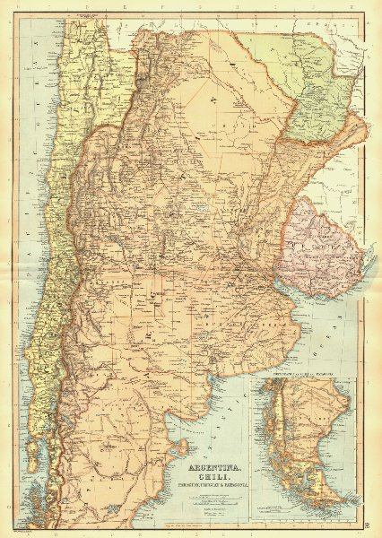 Associate Product ARGENTINA CHILE PARAGUAY URUGUAY. Railways. Patagonia. BLACKIE 1893 old map