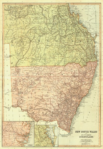 Associate Product NEW SOUTH WALES & QUEENSLAND. Australia. Sydney Brisbane. BLACKIE 1893 old map