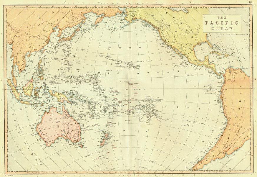 Associate Product PACIFIC OCEAN. Australia New Zealand Polynesia Micronesia. BLACKIE 1893 map