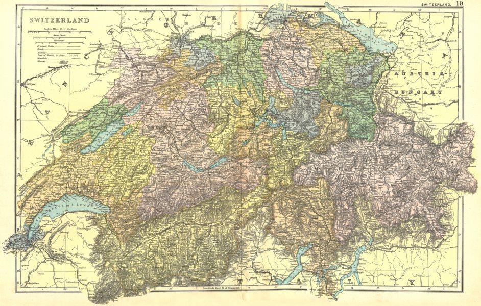 Associate Product SWITZERLAND.  1905 old antique vintage map plan chart