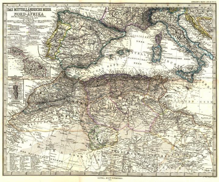 Associate Product MITTELLANDISCHE. Nord-Afrika; Malta; Gibraltar 1879 old antique map plan chart