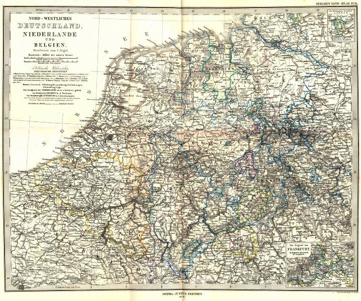 Associate Product DEUTSCHLAND. Niederlande Belgien; Frankfurt 1879 old antique map plan chart