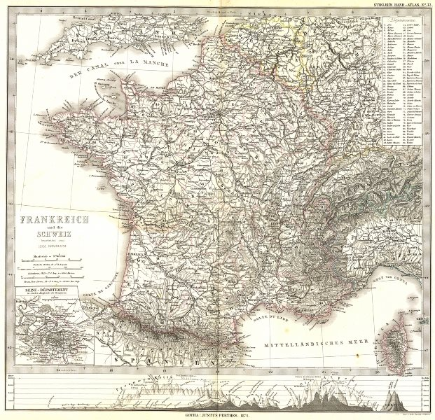 Associate Product FRANKREICH. France Schweiz; Seine Departement 1879 old antique map plan chart