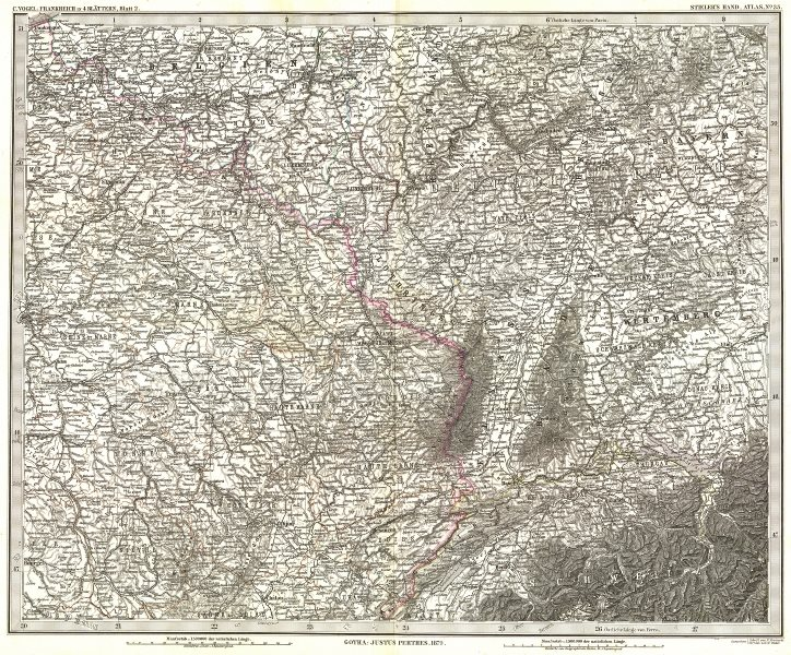 FRANCE. Frankreich NE Wurtemberg 1879 old antique vintage map plan chart