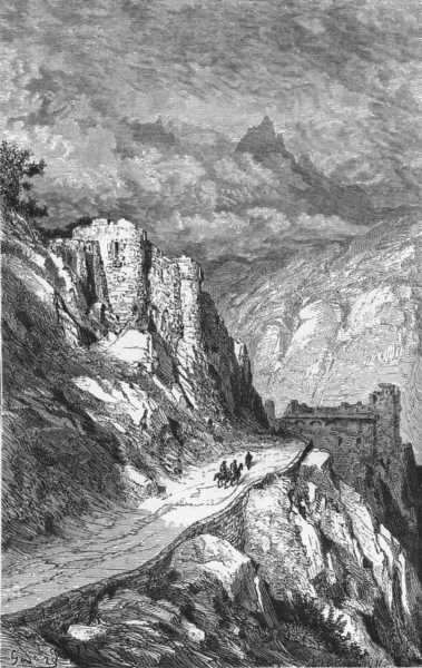Associate Product SPAIN. Col de Perthus(Chateau De Bellegarde) 1881 old antique print picture