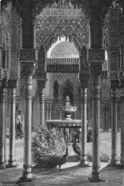 Associate Product SPAIN. Patio de Los Leones(Court of Lions) 1881 old antique print picture