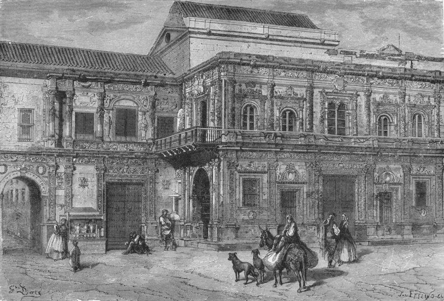 Associate Product SPAIN. Palacio del Ayuntamiento, Seville 1881 old antique print picture