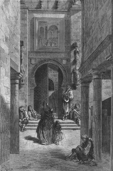 Associate Product SPAIN. Puerta Del Perdon, Seville Cathedral 1881 old antique print picture