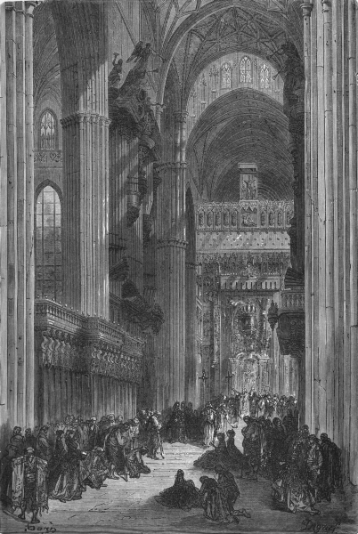 Associate Product SPAIN. Interior of Seville Cathedral 1881 old antique vintage print picture