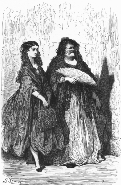 Associate Product SPAIN. An Andalucian Bolera and her mother 1881 old antique print picture