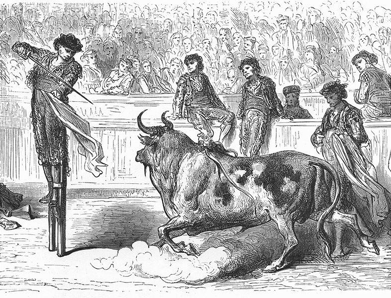 Associate Product SPAIN. Miguel Lopez Gorrito, stilts, killing bull, Plaza Seville 1881 print