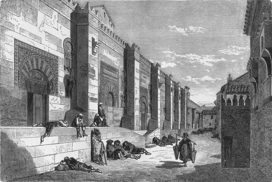 SPAIN. Exterior of the Mosque of Cordoba 1881 old antique print picture