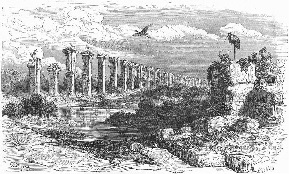 Associate Product SPAIN. Ancient Aqueduct at Merida 1881 old antique vintage print picture