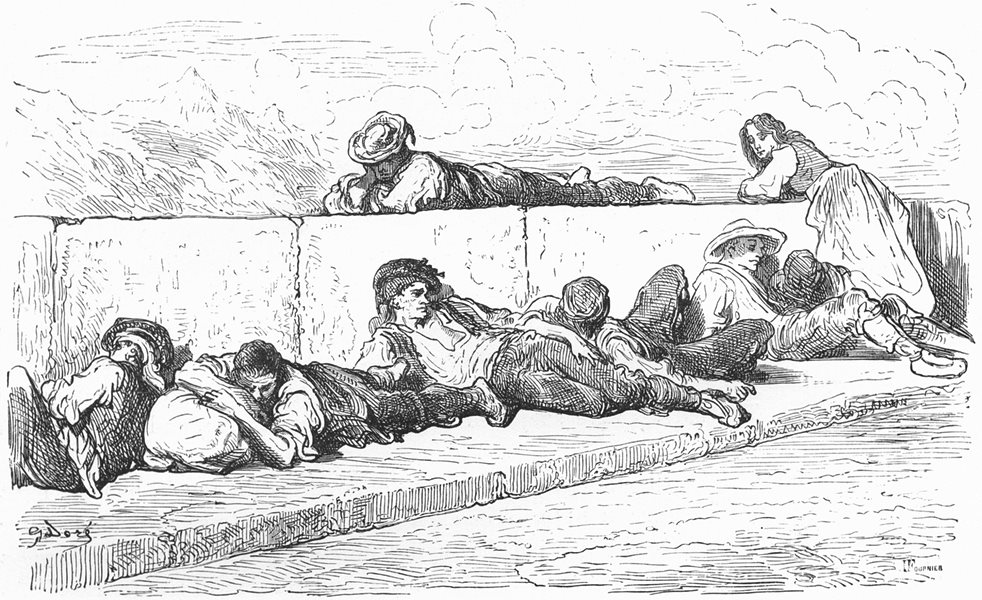 Associate Product SPAIN. Idlers on the bridge of Alicante 1881 old antique vintage print picture