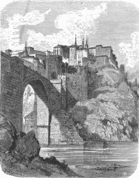 Associate Product SPAIN. Bridge of Saint Martin, Toledo 1881 old antique vintage print picture