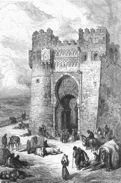 Associate Product SPAIN. The Puerta Del Sol(Gate of the sun)Toledo 1881 old antique print