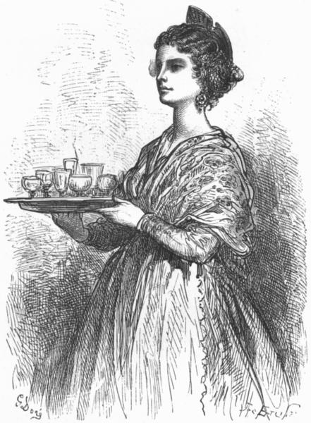 Associate Product SPAIN. Valencian waitress 1881 old antique vintage print picture