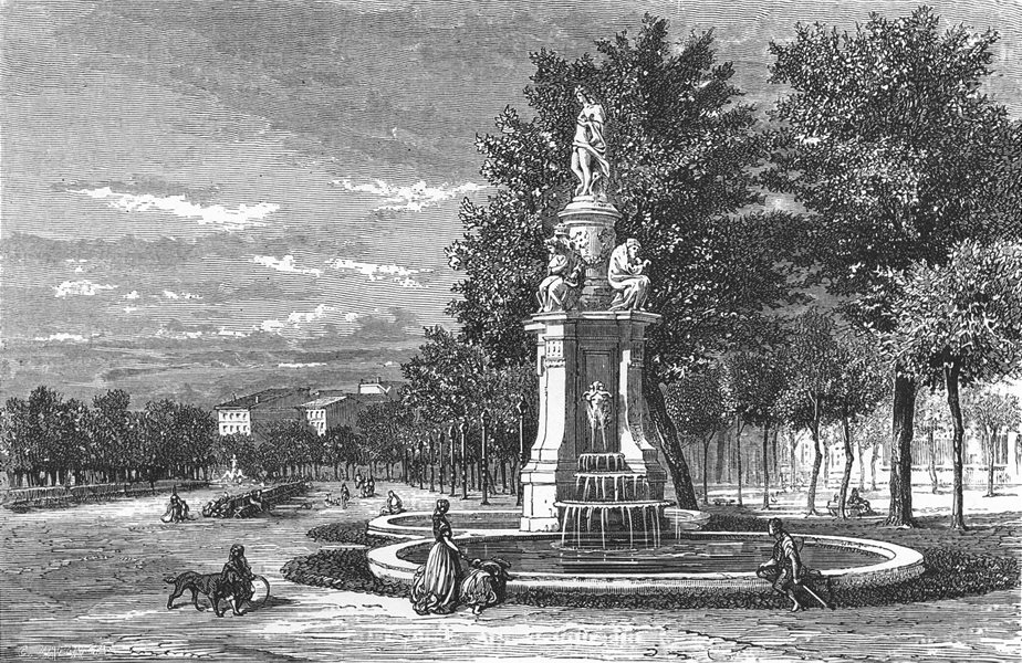 Associate Product SPAIN. Fountain of the four seasons, Madrid 1881 old antique print picture