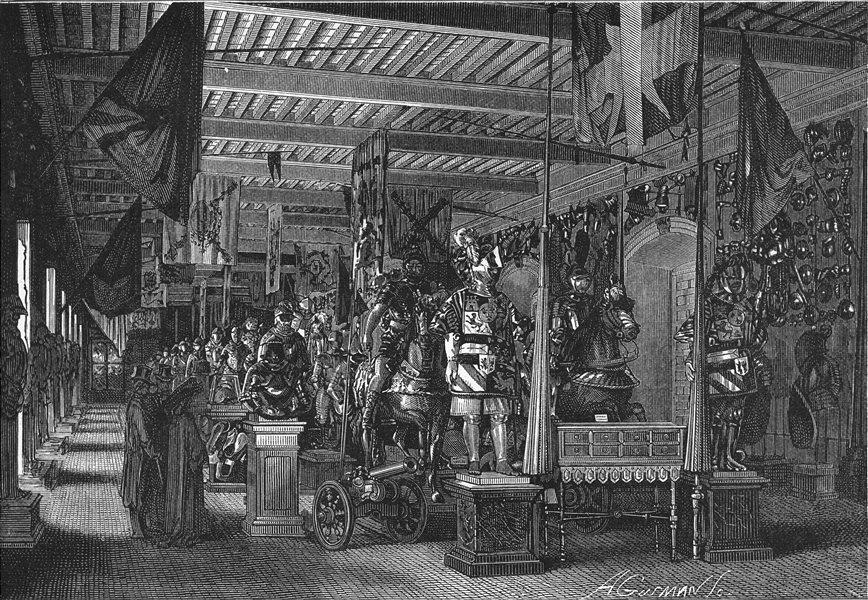 Associate Product SPAIN. Interior of the Armeria, Madrid 1881 old antique vintage print picture