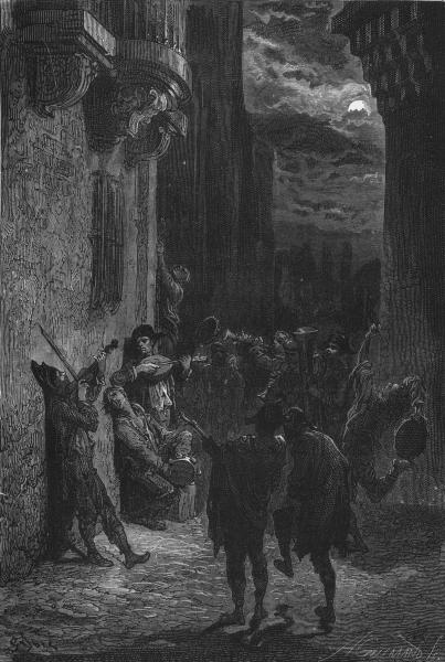 SPAIN. Students serenading 1881 old antique vintage print picture