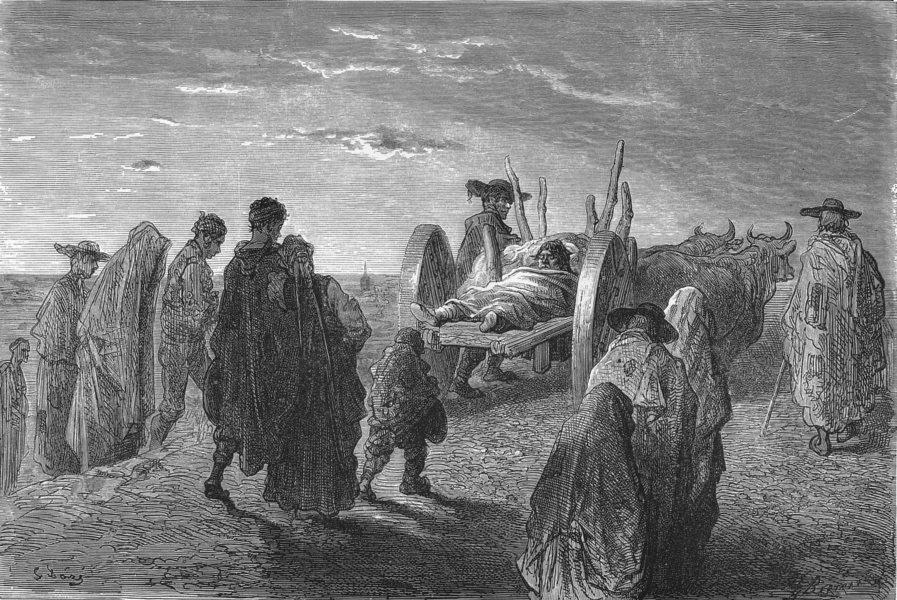 Associate Product SPAIN. Peasant's Funeral, old Castille 1881 antique vintage print picture
