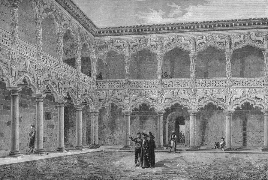 Associate Product SPAIN. Court of the Palace of the Duc de L'Infantado 1881 old antique print