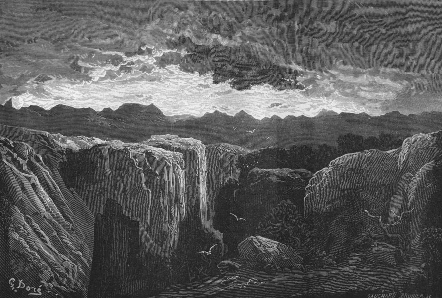 Associate Product SPAIN. Rocks of Aumalluch 1881 old antique vintage print picture