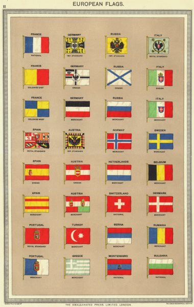 Associate Product EUROPEAN FLAGS. France Russia Germany Italy Spain Austria Portugal Norway 1907