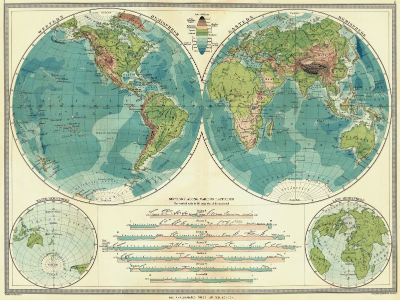 Associate Product WORLD. Hemispheres. Physical; Western Hemisphere; Eastern; Water Land 1907 map