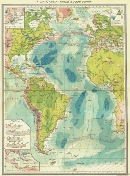 Associate Product ATLANTIC OCEAN. Cables & depths; Spring Tide; west Indies vis land 1907 map