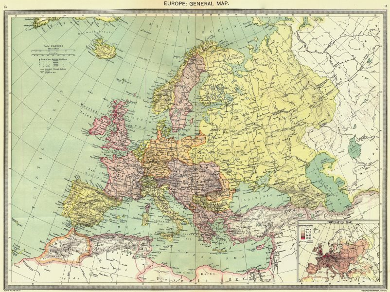 Associate Product EUROPE. European. General Map; Inset map of Population map 1907 old